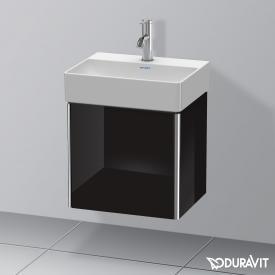 Duravit XSquare Handwaschbeckenunterschrank mit 1 Tür Front schwarz hochglanz / Korpus schwarz hochglanz