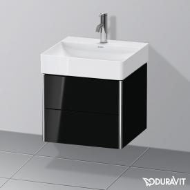 Duravit XSquare Waschtischunterschrank mit 2 Auszügen Front schwarz hochglanz / Korpus schwarz hochglanz, ohne Einrichtungssystem