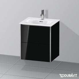 Duravit XSquare Handwaschbeckenunterschrank mit 2 Auszügen Front schwarz hochglanz / Korpus schwarz hochglanz