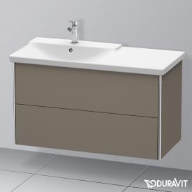 Duravit XSquare Waschtischunterschrank mit 2 Auszügen Front flannel grey seidenmatt / Korpus flannel grey seidenmatt, mit Einrichtungssystem Nussbaum