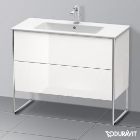 Duravit XSquare Waschtischunterschrank mit 2 Auszügen Front weiß hochglanz / Korpus weiß hochglanz, mit Einrichtungssystem Nussbaum