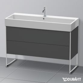Duravit XSquare Waschtischunterschrank mit 2 Auszügen Front graphit matt / Korpus graphit matt, mit Einrichtungssystem Nussbaum