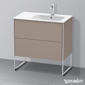 Duravit XSquare Waschtischunterschrank mit 2 Auszügen Front basalt matt / Korpus basalt matt, mit Einrichtungssystem Ahorn