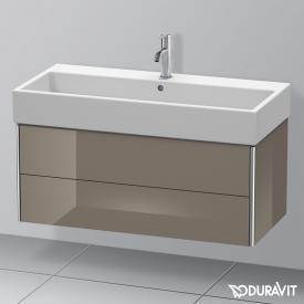 Duravit XSquare Waschtischunterschrank mit 2 Auszügen Front flannel grey hochglanz / Korpus flannel grey hochglanz, mit Einrichtungssystem Nussbaum