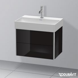 Duravit XSquare Waschtischunterschrank Compact mit 2 Auszügen Front schwarz hochglanz / Korpus schwarz hochglanz, ohne Einrichtungssystem