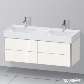 Duravit XSquare Waschtischunterschrank für Doppelwaschtisch mit 4 Auszügen Front weiß hochglanz / Korpus weiß hochglanz, mit Einrichtungssystem Nussbaum