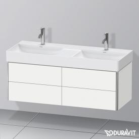 Duravit XSquare Waschtischunterschrank für Doppelwaschtisch mit 4 Auszügen Front weiß matt / Korpus weiß matt, mit Einrichtungssystem Nussbaum