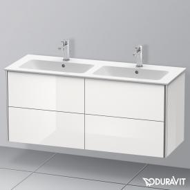 Duravit XSquare Waschtischunterschrank für Doppelwaschtisch mit 4 Auszügen Front weiß hochglanz / Korpus weiß hochglanz, mit Einrichtungssystem Ahorn