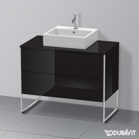Duravit XSquare Waschtischunterschrank für Konsole mit 2 Auszügen Front schwarz hochglanz / Korpus schwarz hochglanz, mit Einrichtungssystem Nussbaum