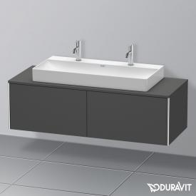 Duravit XSquare Waschtischunterschrank für Konsole mit 2 Auszügen Front graphit matt / Korpus graphit matt, mit Einrichtungssystem Nussbaum
