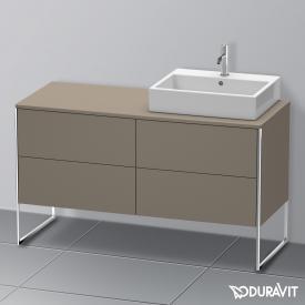 Duravit XSquare Waschtischunterschrank für Konsole mit 4 Auszügen Front flannel grey seidenmatt / Korpus flannel grey seidenmatt, mit Einrichtungssystem Ahorn