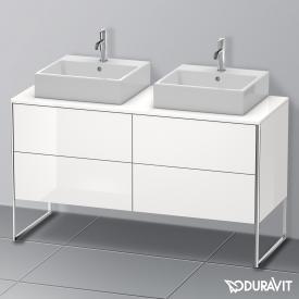 Duravit XSquare Waschtischunterschrank für Konsole mit 4 Auszügen Front weiß hochglanz / Korpus weiß hochglanz, mit Einrichtungssystem Nussbaum