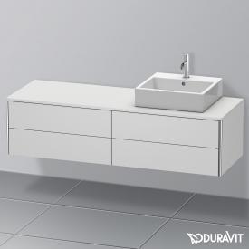 Duravit XSquare Waschtischunterschrank für Konsole mit 4 Auszügen Front weiß seidenmatt / Korpus weiß seidenmatt, mit Einrichtungssystem Nussbaum