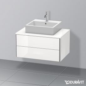 Duravit XSquare Waschtischunterschrank für Konsole mit 2 Auszügen Front weiß hochglanz / Korpus weiß hochglanz, mit Einrichtungssystem Nussbaum