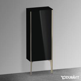 Duravit XViu Halbhochschrank mit 1 Tür Front schwarz hochglanz / Korpus schwarz hochglanz, Kante champagner matt