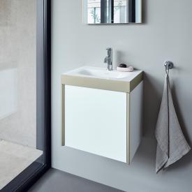 Duravit XViu Handwaschbecken mit Waschtischunterschrank mit 1 Tür mit 1 Hahnloch, Front weiß matt/champagner matt/Korpus weiß matt/champagner matt, Kante champagner matt