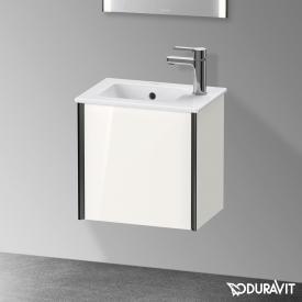 Duravit XViu Handwaschbeckenunterschrank mit 1 Tür weiß hochglanz, Kante schwarz matt, ohne Einrichtungssystem