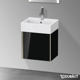 Duravit XViu Handwaschbeckenunterschrank mit 1 Tür schwarz hochglanz, Kante champagner matt, ohne Einrichtungssystem