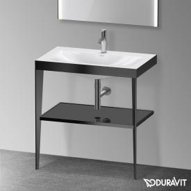 Duravit XViu Möbelwaschtisch mit Metallkonsole schwarz hochglanz/schwarz matt
