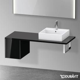 Duravit XViu Unterschrank für Konsole mit 1 Auszug schwarz hochglanz, Kante schwarz matt, ohne Einrichtungssystem
