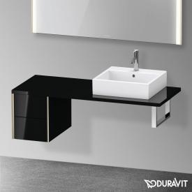 Duravit XViu Unterschrank für Konsole mit 2 Auszüge schwarz hochglanz, Kante champagner matt, ohne Einrichtungssystem
