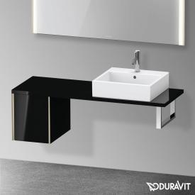 Duravit XViu Unterschrank für Konsole Compact mit 1 Auszug schwarz hochglanz, Kante champagner matt, ohne Einrichtungssystem