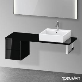 Duravit XViu Unterschrank für Konsole Compact mit 2 Auszüge schwarz hochglanz, Kante schwarz matt, ohne Einrichtungssystem