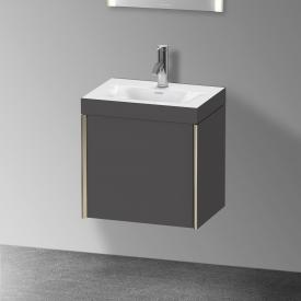 Duravit XViu Waschtisch mit Waschtischunterschrank mit 1 Tür mit 1 Hahnloch, Front graphit matt/Korpus graphit matt, Kante champagner matt
