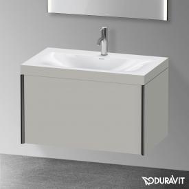 Duravit XViu Waschtisch mit Waschtischunterschrank mit 1 Auszug betongrau matt, Kante schwarz matt, ohne Einrichtungssystem
