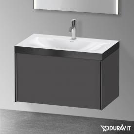 Duravit XViu Waschtisch mit Waschtischunterschrank mit 1 Auszug graphit matt/schwarz matt, Kante schwarz matt, mit Einrichtungssystem Nussbaum