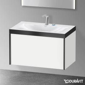 Duravit XViu Waschtisch mit Waschtischunterschrank mit 1 Auszug weiß matt/schwarz matt, Kante schwarz matt, mit Einrichtungssystem Nussbaum