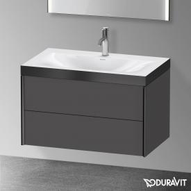Duravit XViu Waschtisch mit Waschtischunterschrank mit 2 Auszügen graphit matt/schwarz matt, Kante schwarz matt, mit Einrichtungssystem Nussbaum
