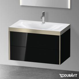 Duravit XViu Waschtisch mit Waschtischunterschrank mit 2 Auszügen schwarz hochglanz/champagner matt, Kante champagner matt, mit Einrichtungssystem Nussbaum