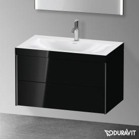 Duravit XViu Waschtisch mit Waschtischunterschrank mit 2 Auszügen schwarz hochglanz, Kante schwarz matt, ohne Einrichtungssystem