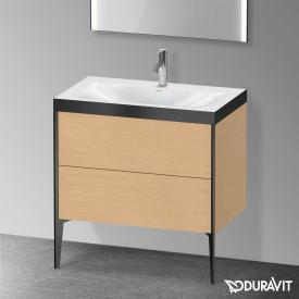 Duravit XViu Waschtisch mit Waschtischunterschrank mit 2 Auszügen eiche gebürstet/schwarz matt, Kante schwarz matt, ohne Einrichtungssystem