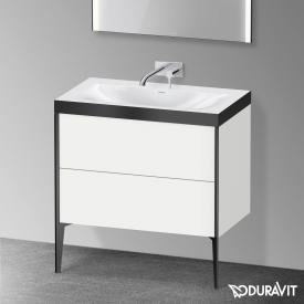 Duravit XViu Waschtisch mit Waschtischunterschrank mit 2 Auszügen weiß matt/schwarz matt, Kante schwarz matt, ohne Einrichtungssystem