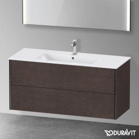 Duravit XViu Waschtischunterschrank mit 2 Auszügen eiche dunkel gebürstet, Kante schwarz matt, ohne Einrichtungssystem