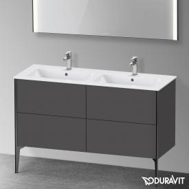 Duravit XViu Waschtischunterschrank mit 4 Auszügen graphit matt, Kante schwarz matt, ohne Einrichtungssystem