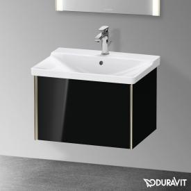 Duravit XViu Waschtischunterschrank mit 1 Auszug schwarz hochglanz, Kante champagner matt, ohne Einrichtungssystem