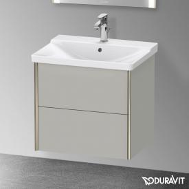 Duravit XViu Waschtischunterschrank mit 2 Auszügen betongrau matt, Kante champagner matt, ohne Einrichtungssystem