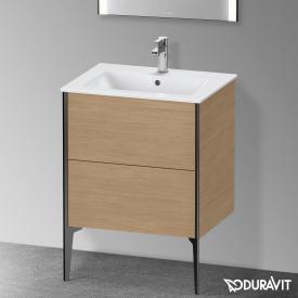 Duravit XViu Waschtischunterschrank mit 2 Auszügen europäische eiche, Kante schwarz matt, ohne Einrichtungssystem