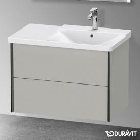 Duravit XViu Waschtischunterschrank mit 2 Auszügen betongrau matt, Kante schwarz matt, ohne Einrichtungssystem