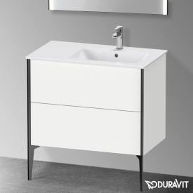 Duravit XViu Waschtischunterschrank mit 2 Auszügen weiß matt, Kante schwarz matt, mit Einrichtungssystem Ahorn