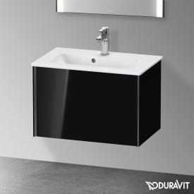 Duravit XViu Waschtischunterschrank Compact mit 1 Auszug schwarz hochglanz, Kante schwarz matt, ohne Einrichtungssystem