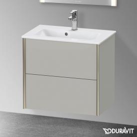 Duravit XViu Waschtischunterschrank Compact mit 2 Auszügen betongrau matt, Kante champagner matt, ohne Einrichtungssystem