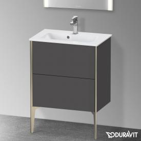 Duravit XViu Waschtischunterschrank Compact mit 2 Auszügen graphit matt, Kante champagner matt, ohne Einrichtungssystem