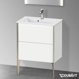 Duravit XViu Waschtischunterschrank Compact mit 2 Auszügen weiß matt, Kante champagner matt, ohne Einrichtungssystem