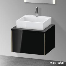 Duravit XViu Waschtischunterschrank für Konsole mit 1 Auszug schwarz hochglanz, Kante champagner matt, ohne Einrichtungssystem