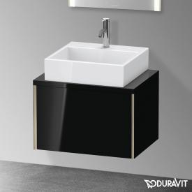Duravit XViu Waschtischunterschrank für Konsole Compact mit 1 Auszug schwarz hochglanz, Kante champagner matt, ohne Einrichtungssystem