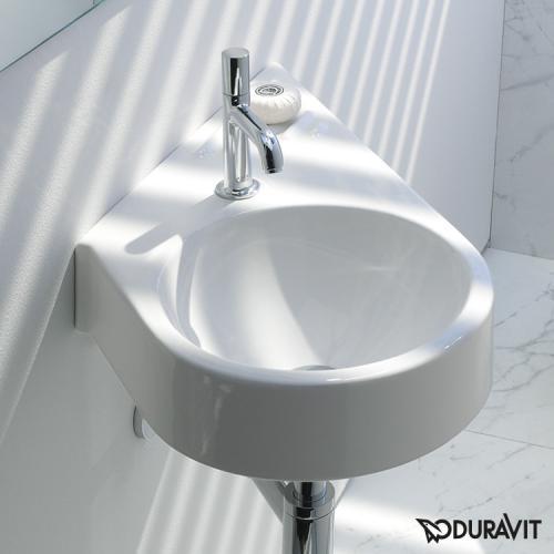 Duravit Architec Handwaschbecken, diagonal weiß, mit 1 Hahnloch, links diagonal
